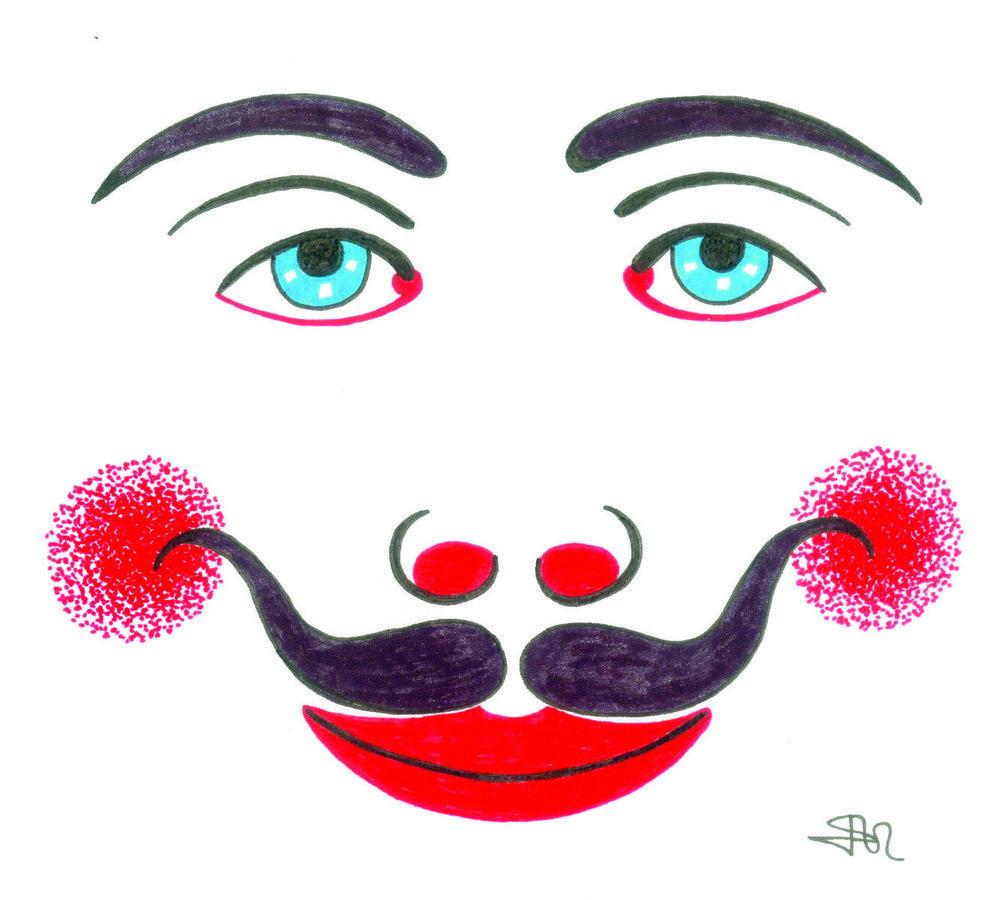Dibujo de antigua máscara de rejilla de Los Buches