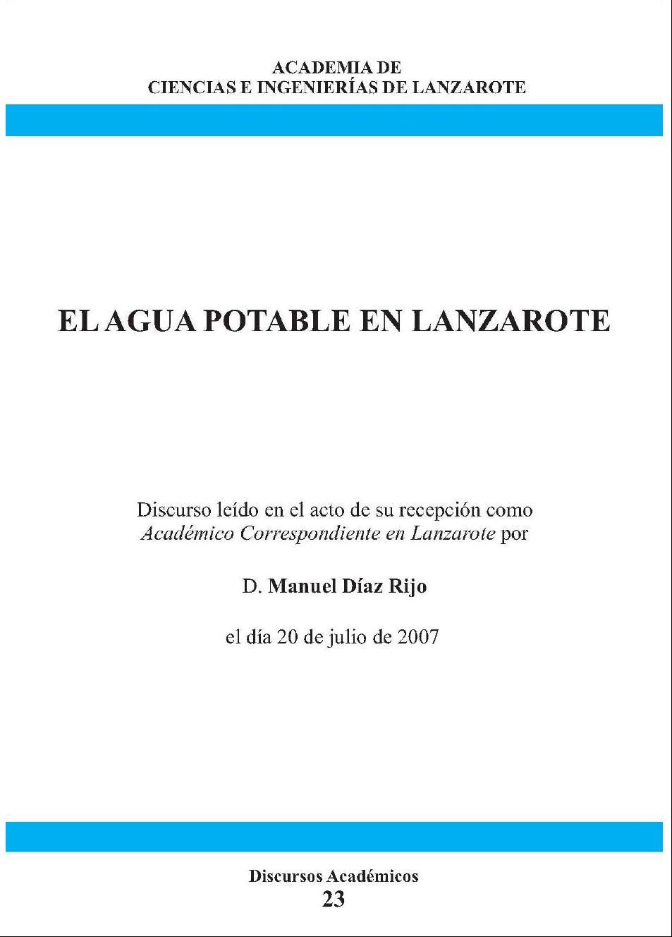 El agua potable en Lanzarote