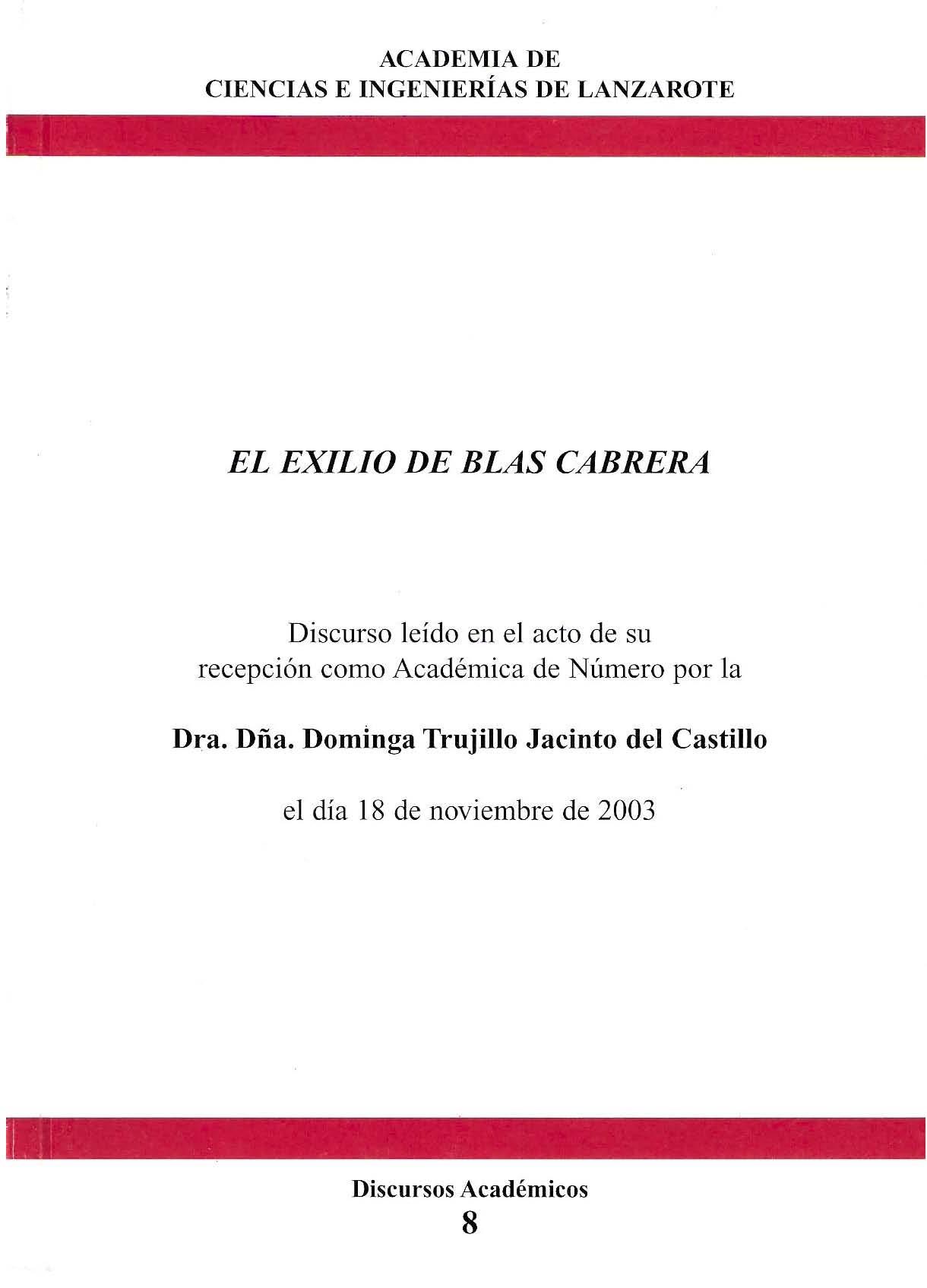 El exilio de Blas Cabrera