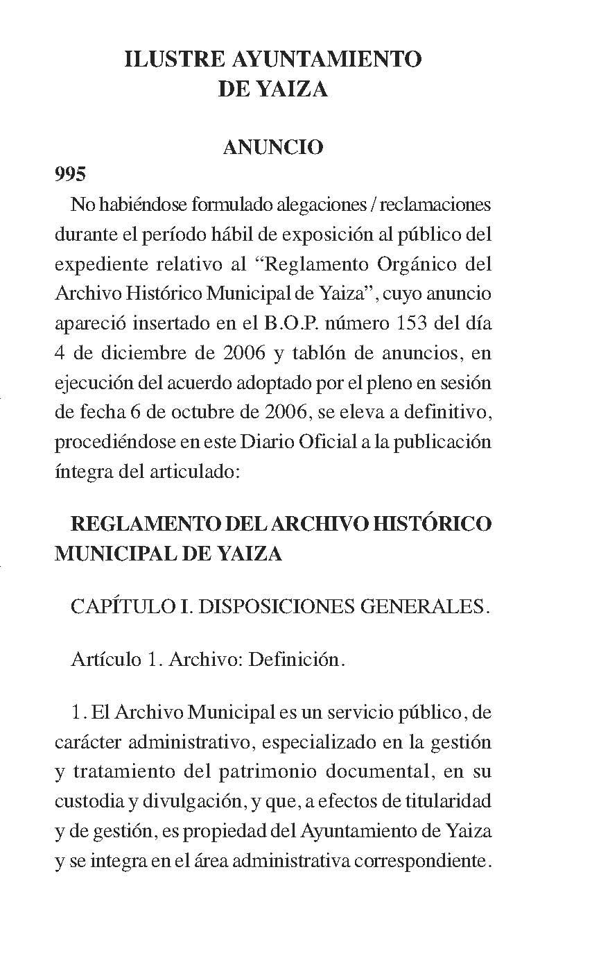 Reglamento del Archivo Histórico Municipal de Yaiza