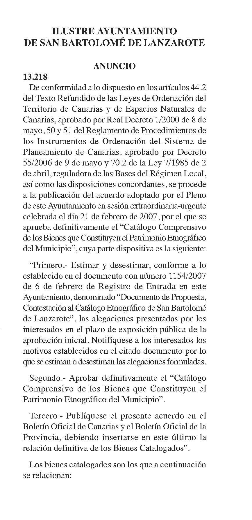 Catálogo del Patrimonio Etnográfico de San Bartolomé