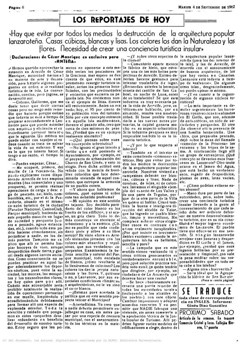 Declaraciones de César Manrique en exclusiva para el semanario Antena