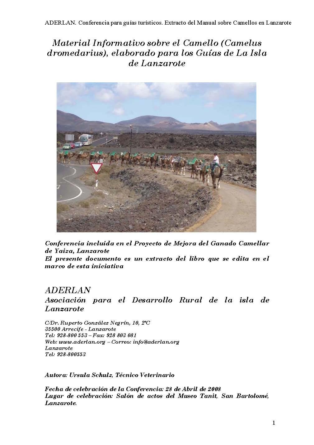 Material informativo sobre el camello (camelus dromedarius), elaborado para los guías de la isla de Lanzarote