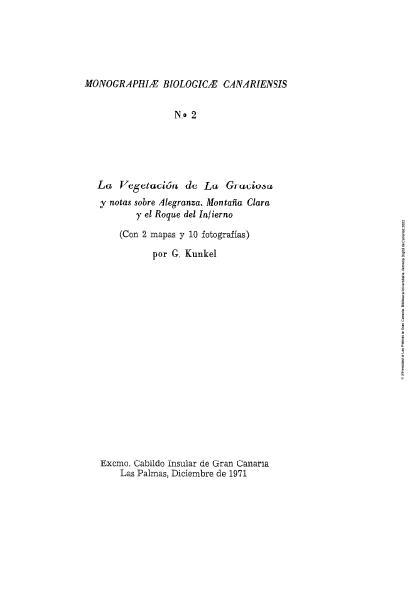 La vegetación de La Graciosa y notas sobre Alegranza, Montaña Clara y Roque del Infierno