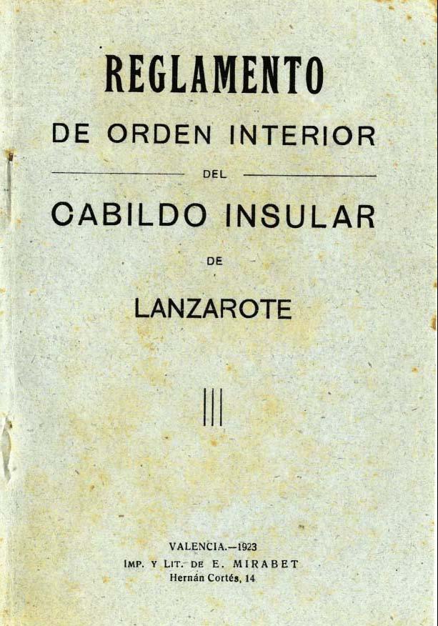 Reglamento de Orden Interior del Cabildo Insular de Lanzarote