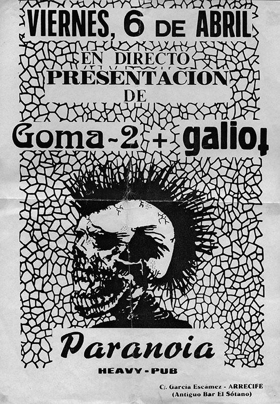 Cartel de actuación del grupo  'Goma 2'