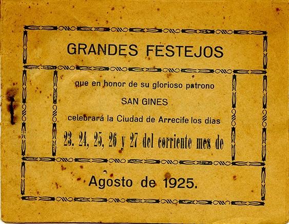 Programa de las fiestas de San Ginés de 1925