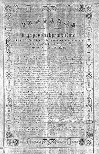 Programa de las Fiestas de San Ginés de 1904