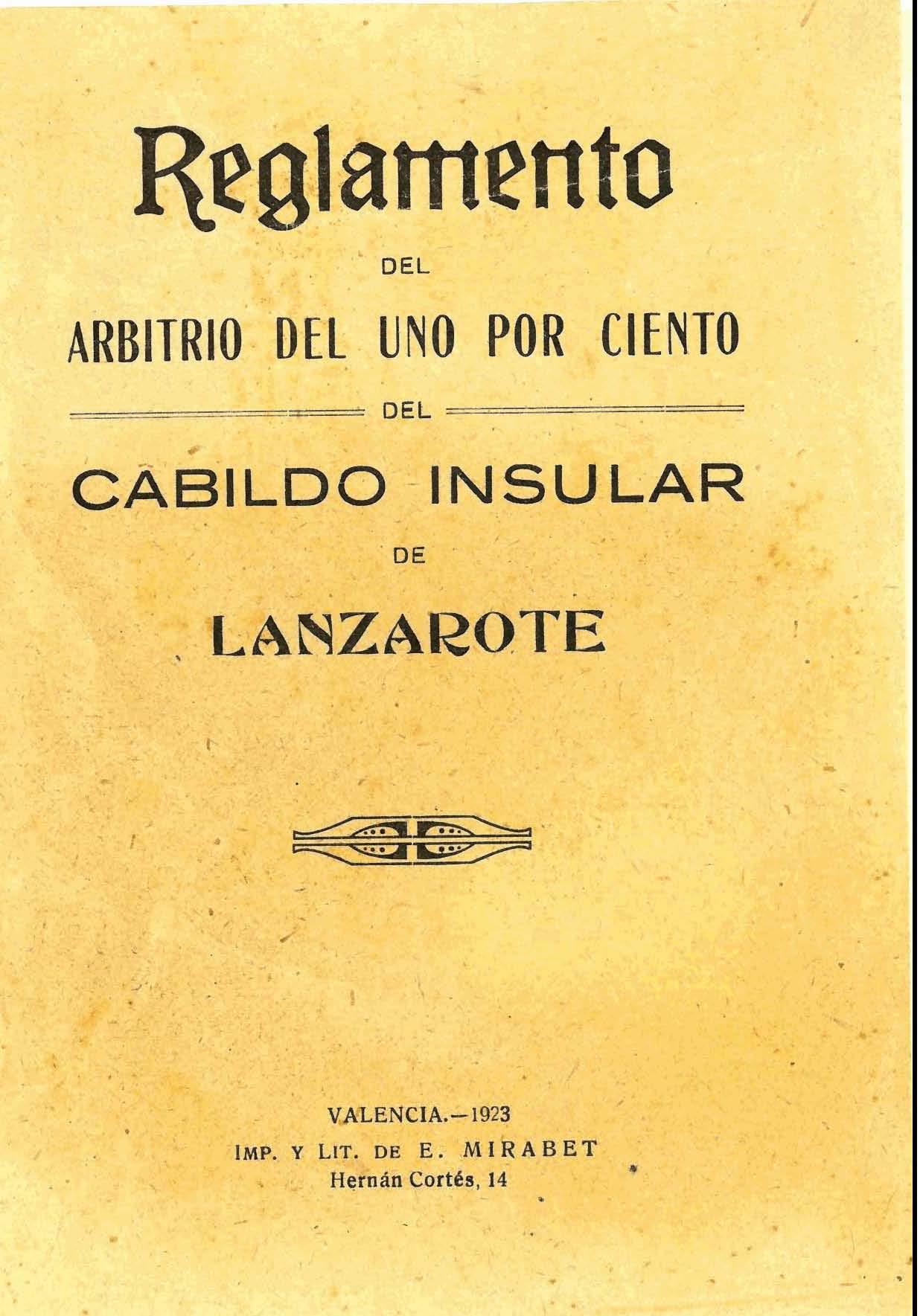 Reglamento del arbitrio del uno por ciento del Cabildo Insular de Lanzarote II