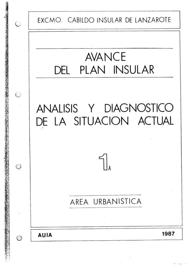 Tomo 1a. Área Urbanística. Avance Plan Insular (1987)