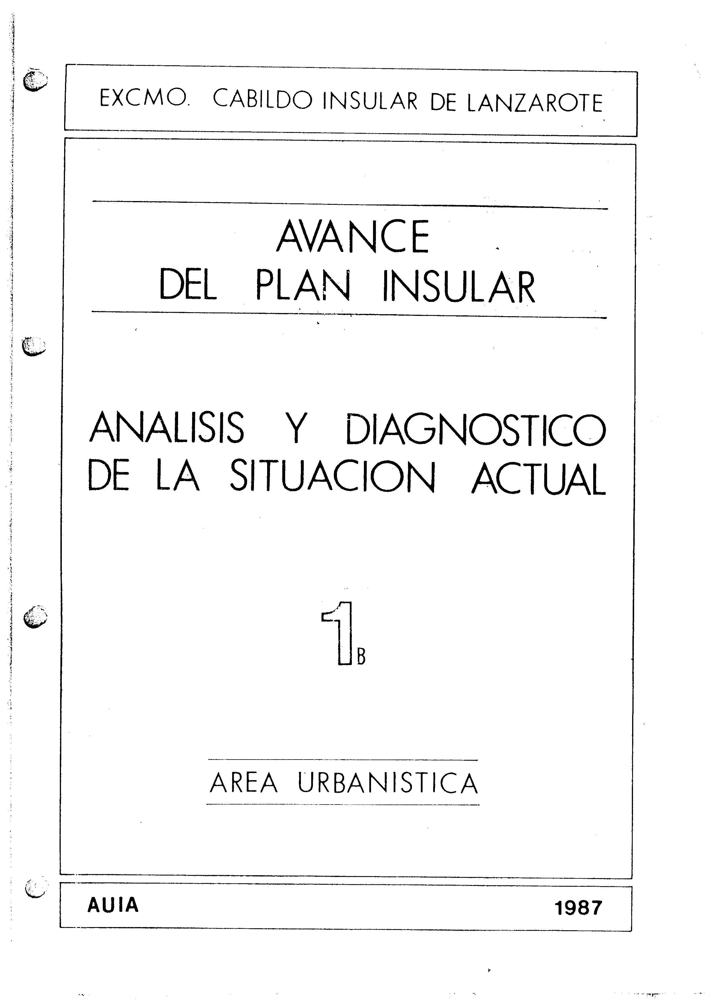 Tomo 1b. Área Urbanística. Avance Plan Insular (1987)
