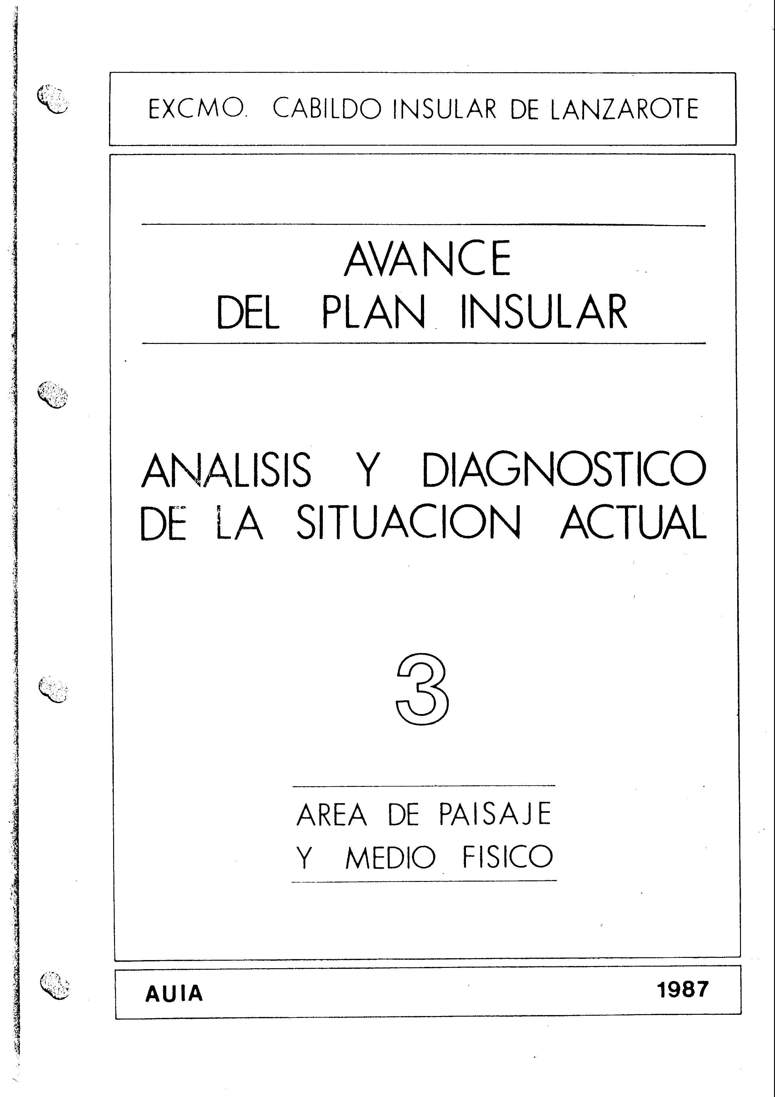 Tomo 3. Paisaje y Medio Físico. Avance Plan Insular (1987)