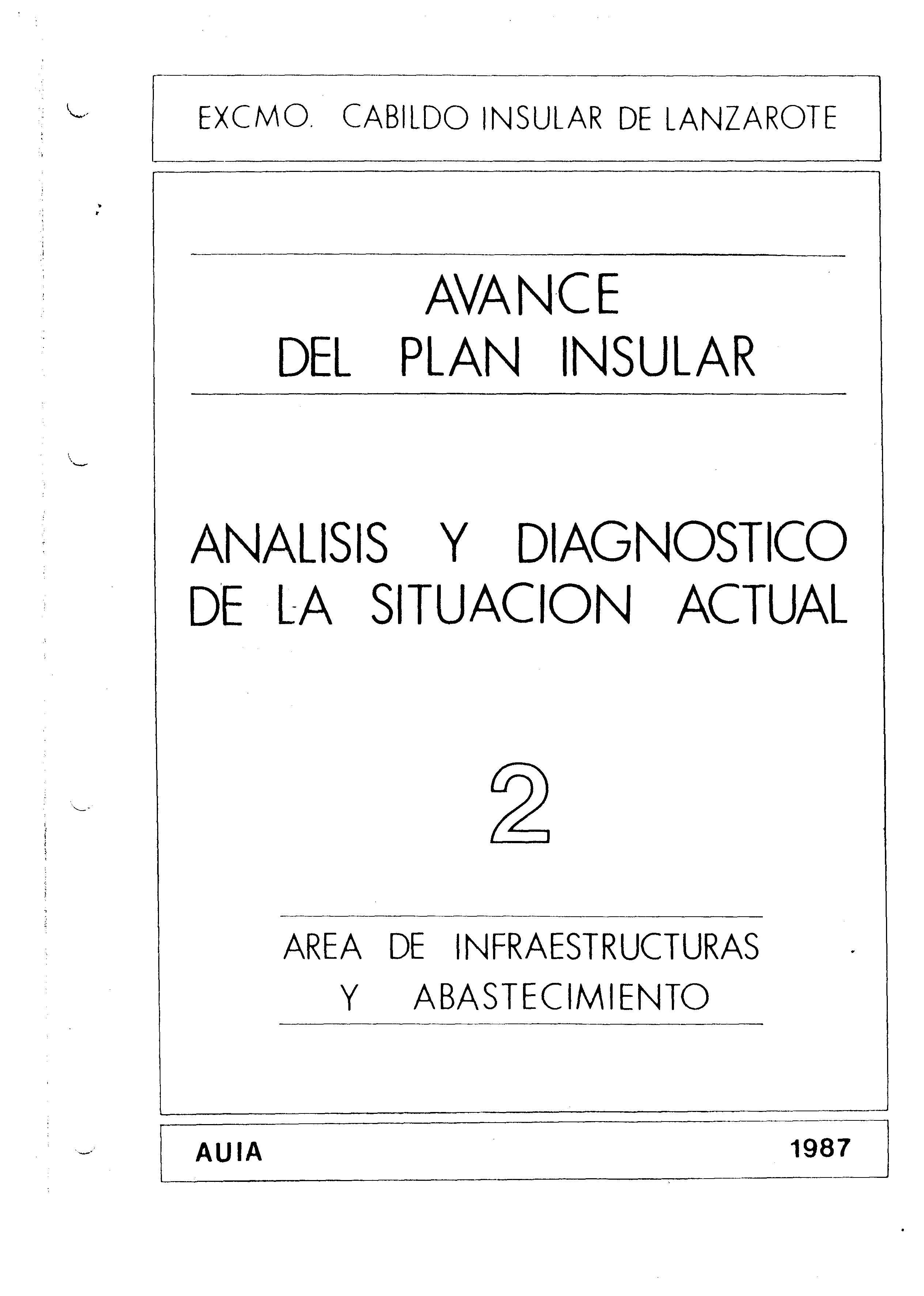 Tomo 2. Infraestructura y absatecimiento. Avance Plan Insular (1987)