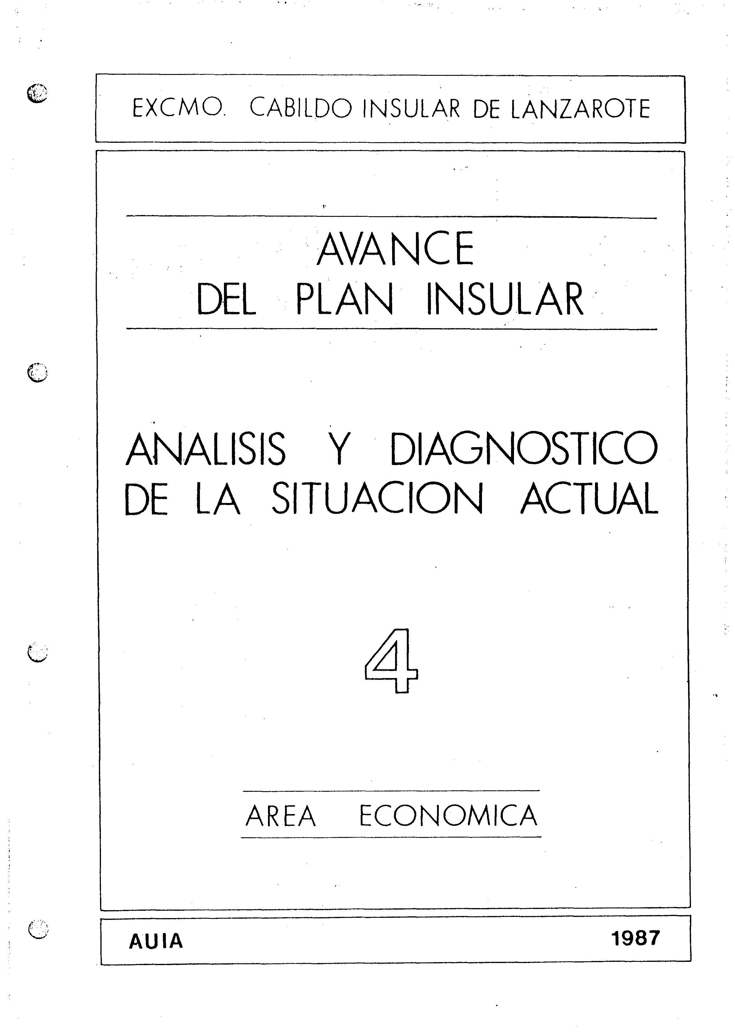 Tomo 4. Economía. Avance Plan Insular (1987)