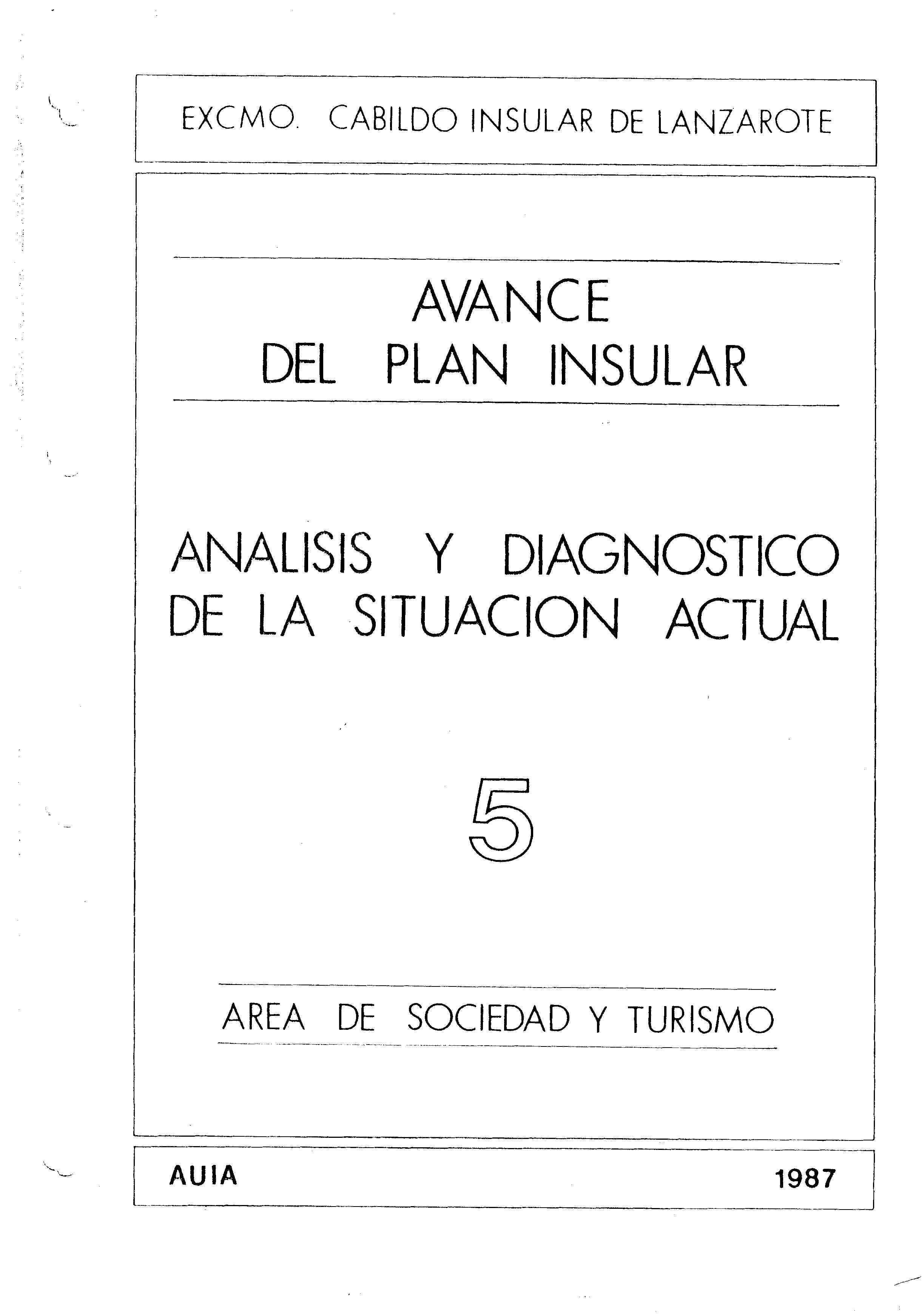 Tomo 5. Área de Sociedad y Turismo. Avance Plan Insular (1987)