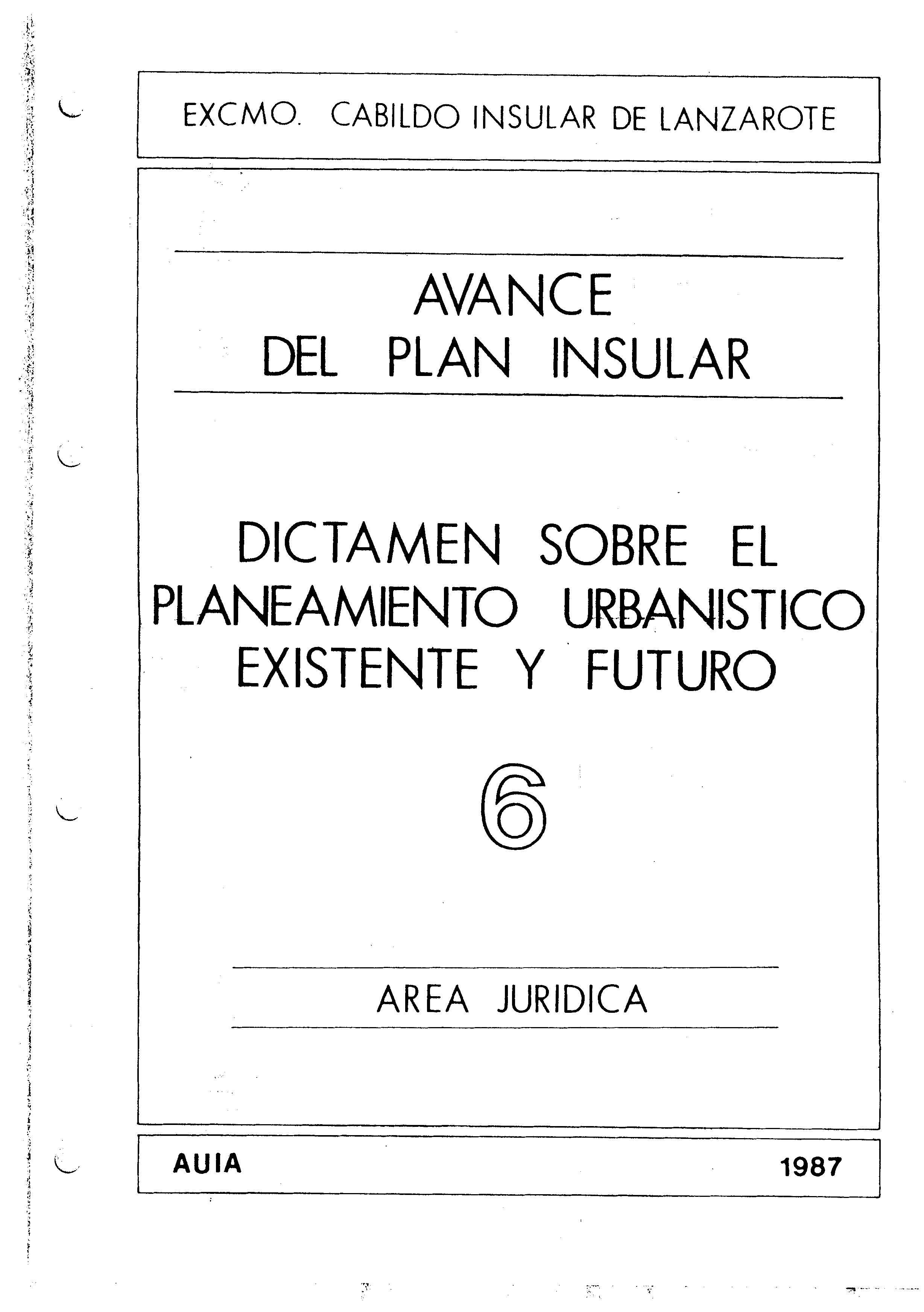 Tomo 6. Área Jurídica. Avance Plan Insular (1987)