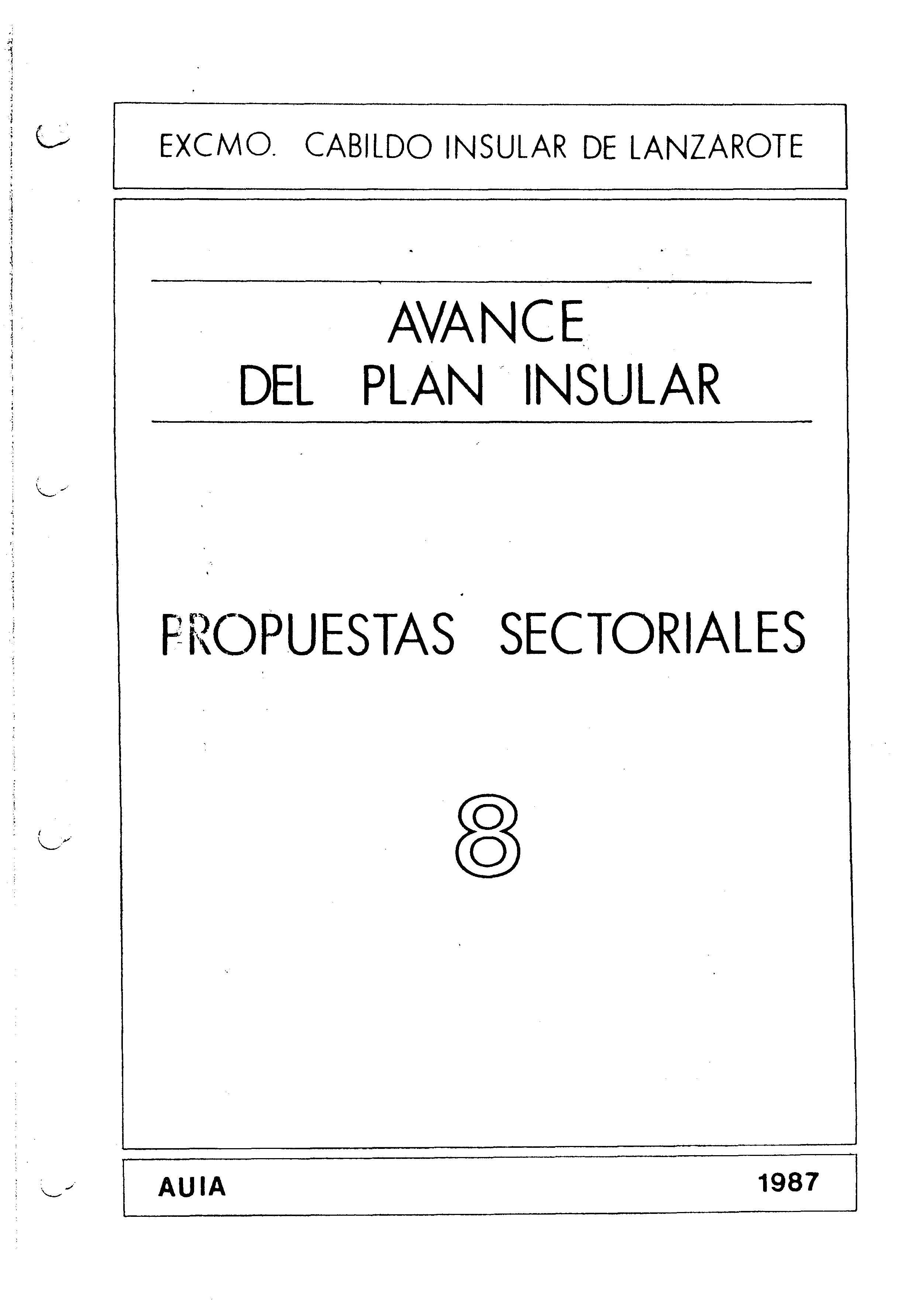 Tomo 8. Área Jurídica. Avance Plan Insular (1987)