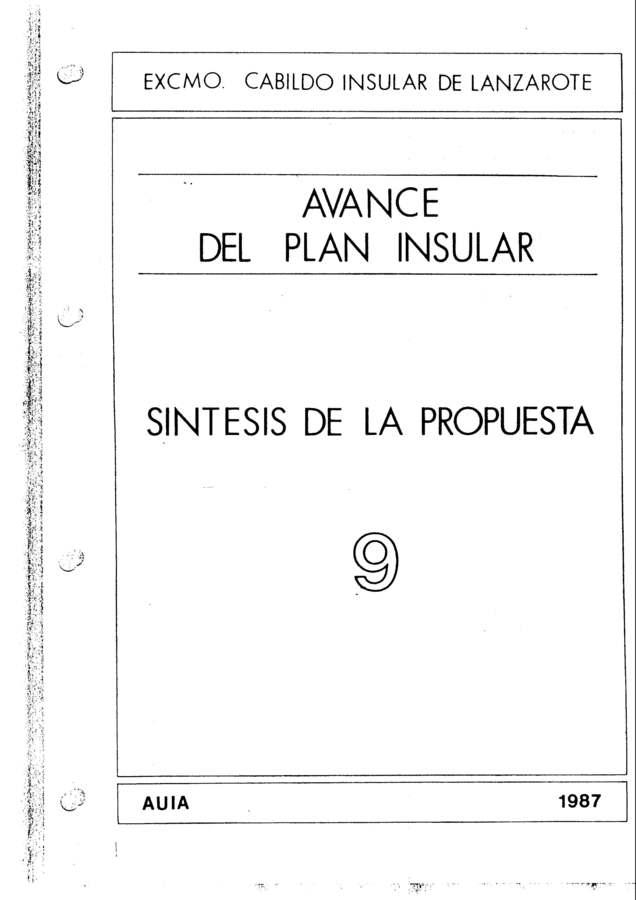 Tomo 9. Sintesís de la propuesta. Avance Plan Insular (1987)