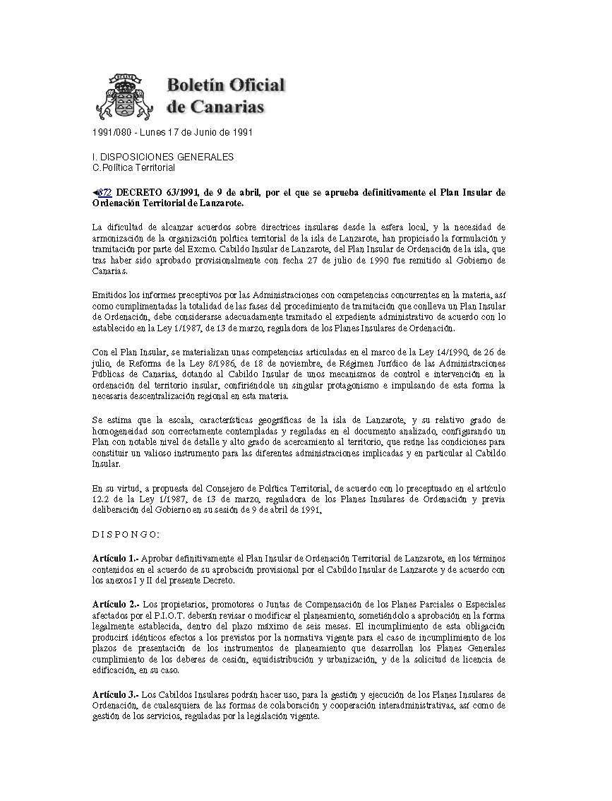 Decreto de aprobación del PIOT (1991)
