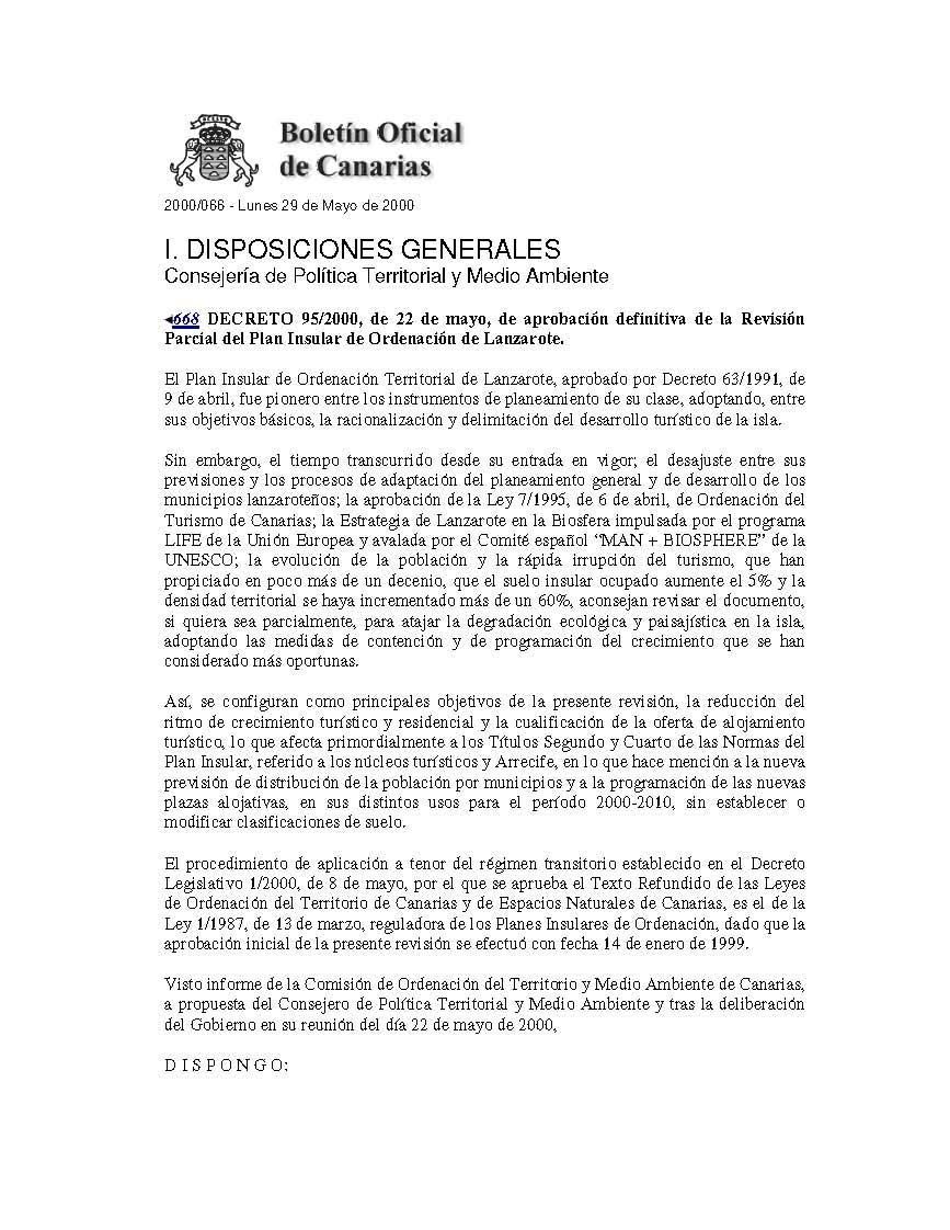 Decreto de aprobación de la Revisión Parcial del PIOT ('Moratoria', 2000)