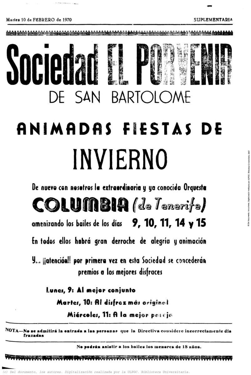 Fiestas de Invierno en la Sociedad Porvenir de San Bartolomé