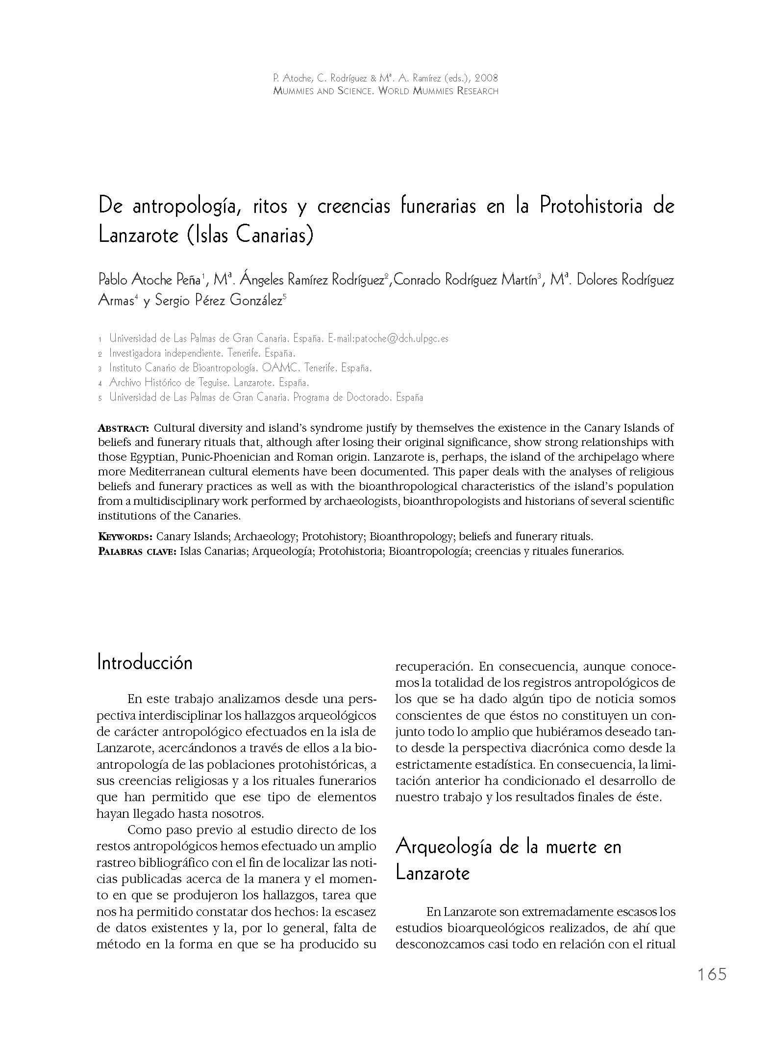 De antropología, ritos y creencias en la Protohistoria de Lanzarote (Islas Canarias)