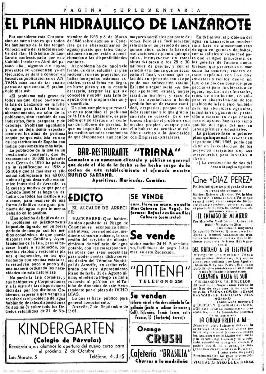 El plan hidráulico de Lanzarote