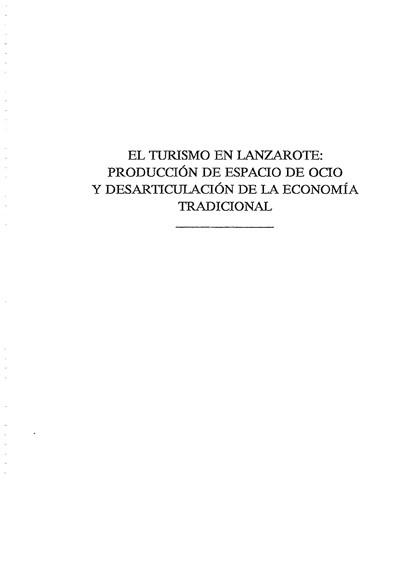 El turismo en Lanzarote: producción de espacio de ocio y desarticulación de la economía tradicional