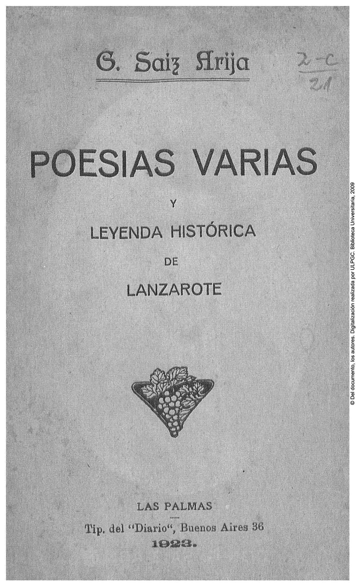 Poesías varias y leyenda histórica de Lanzarote