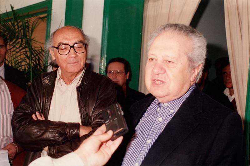 José  Saramago y Mario Soares