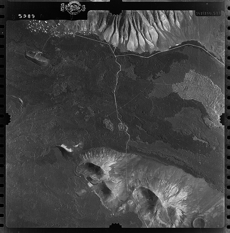 Fotografía aérea de Montaña Blanca en 1956 I