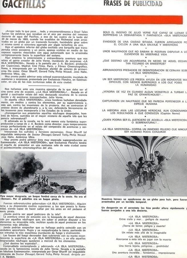 Guía publicitaria de La isla misteriosa III