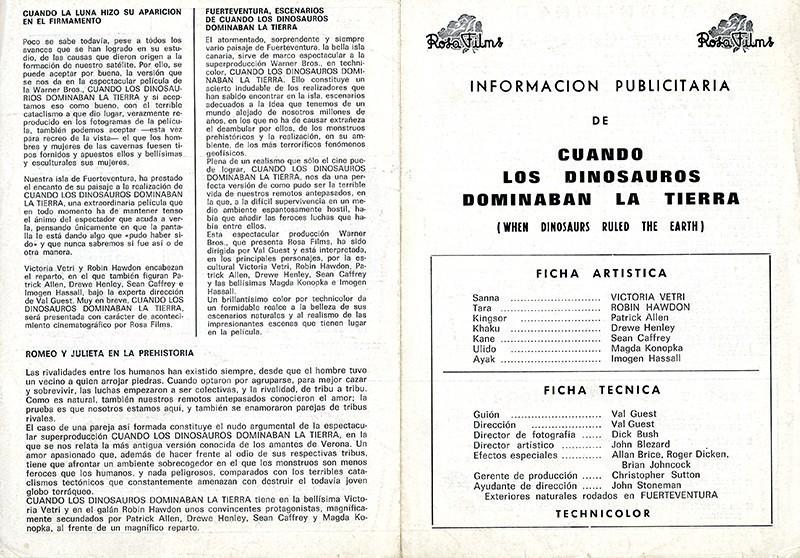 Guía publicitaria de Cuando los dinosaurios dominaban la tierra I