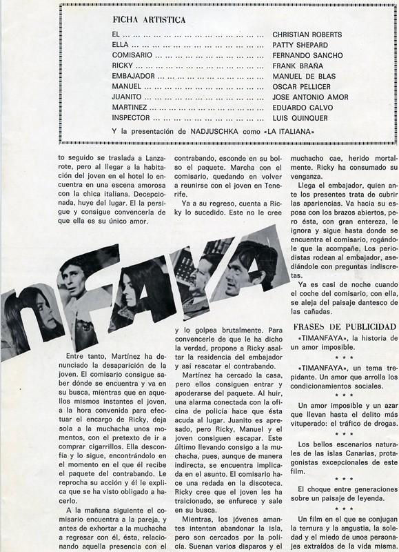 Guía publicitaria de la película Timanfaya III