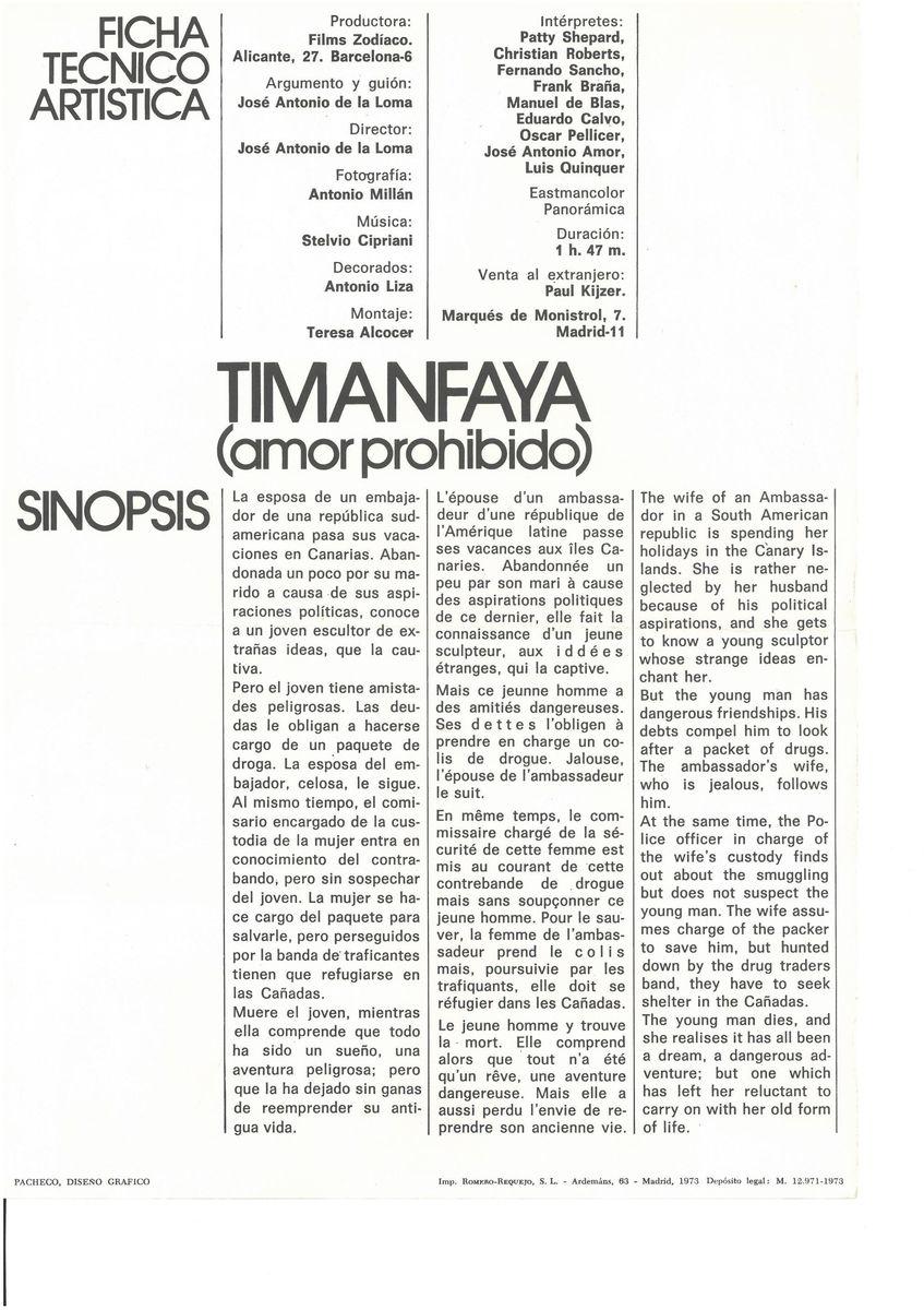 Segunda guía publicitaria de la película Timanfaya II