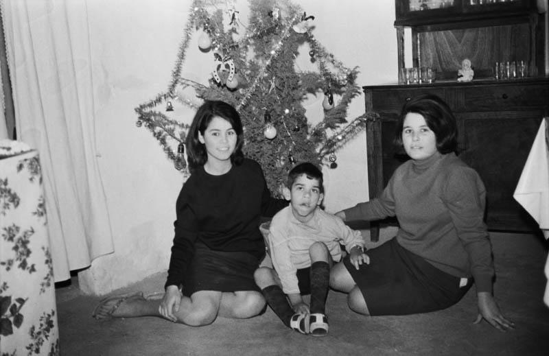 Retrato junto al árbol de Navidad