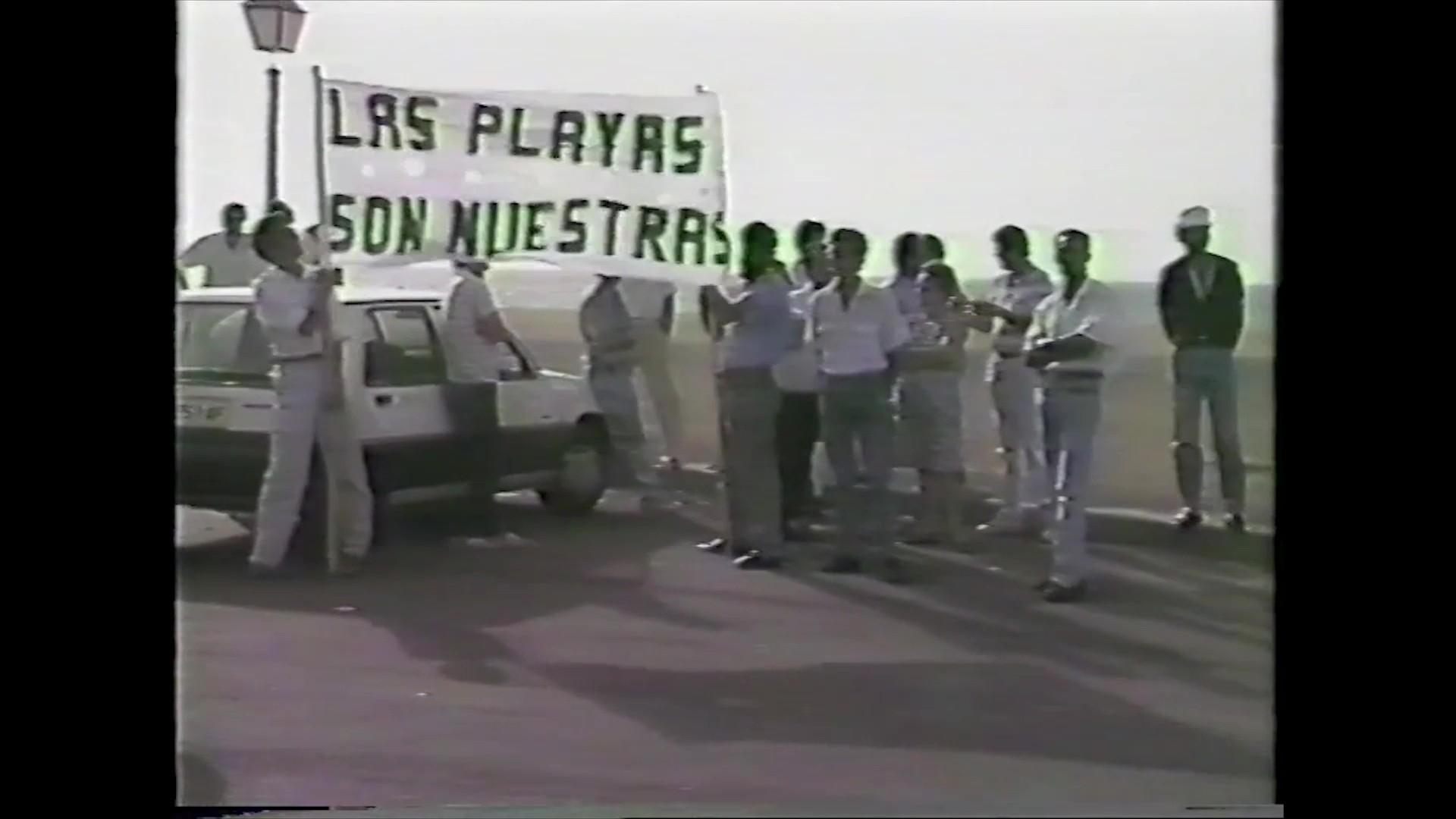 Manifestación en la Playa de Los Pocillos (1988)