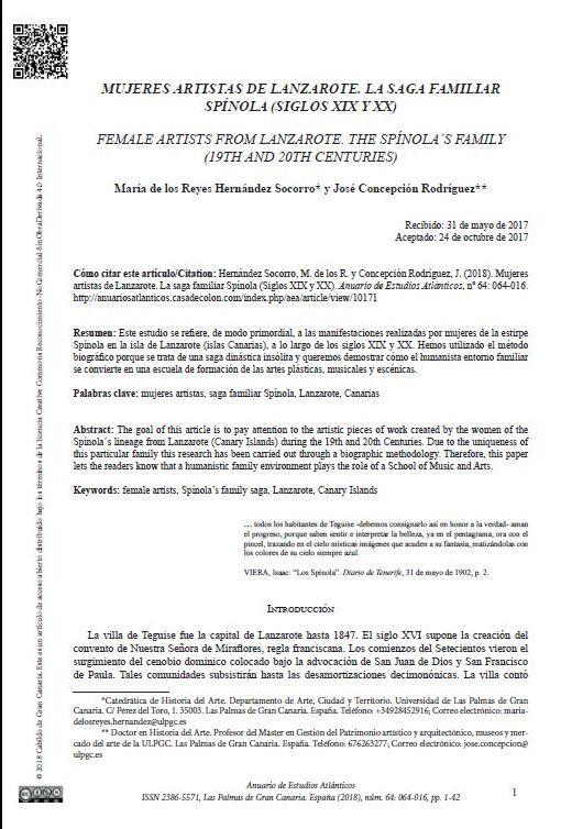 Mujeres artistas de Lanzarote. La saga familiar Spínola (Siglos XIX y XX)
