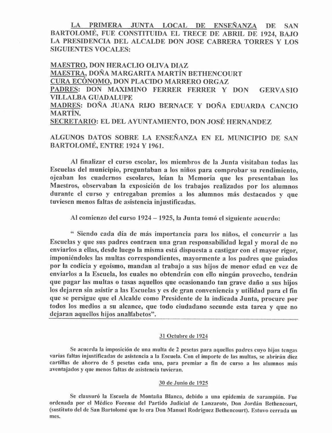Algunos datos sobre la enseñanza en San Bartolomé (1924-61)