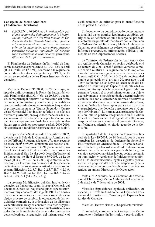 Decreto de aprobación de la Modificiación Puntual nº 1 del PIOT (2004)
