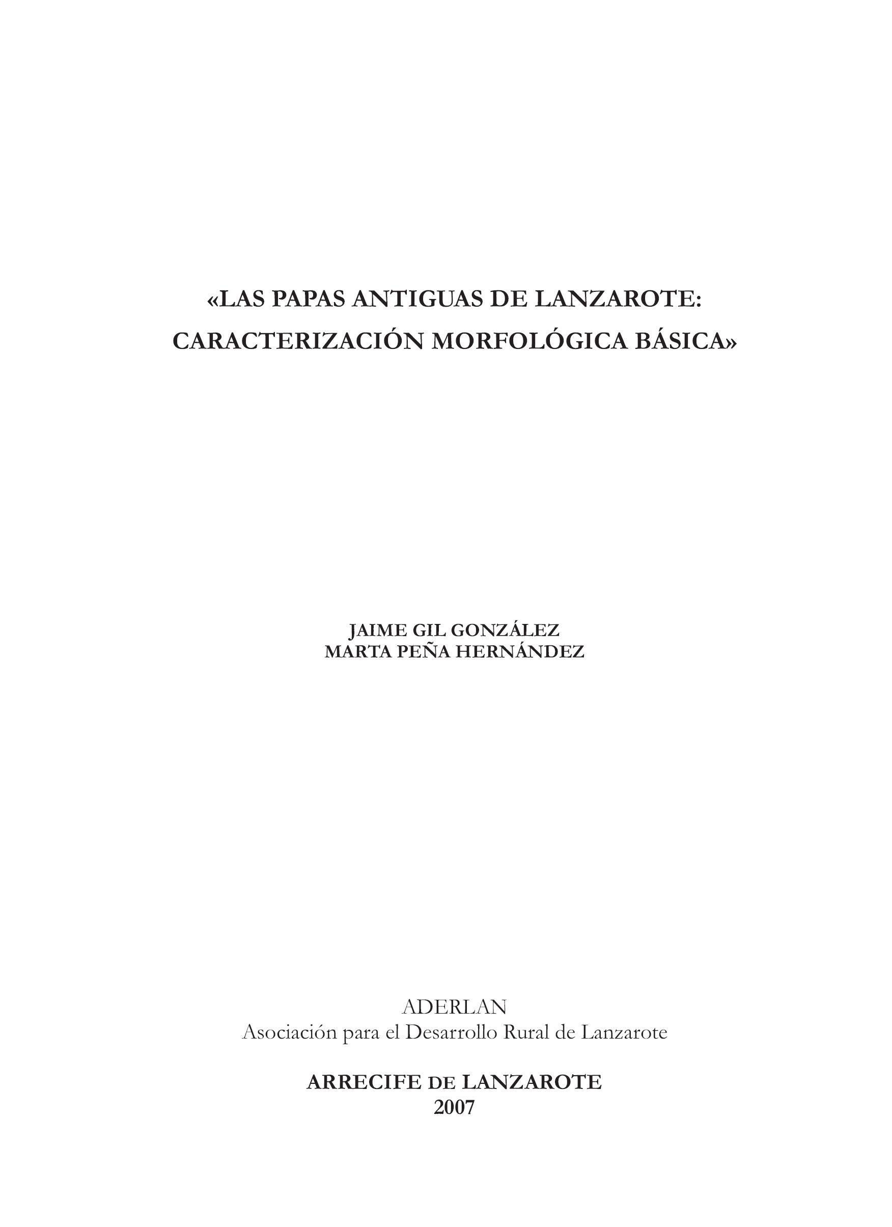 Las papas antiguas de Lanzarote: caracterización morfológica básica