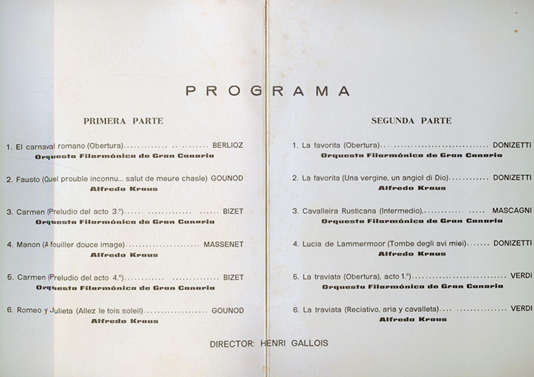 Programa del concierto de Alfredo Kraus