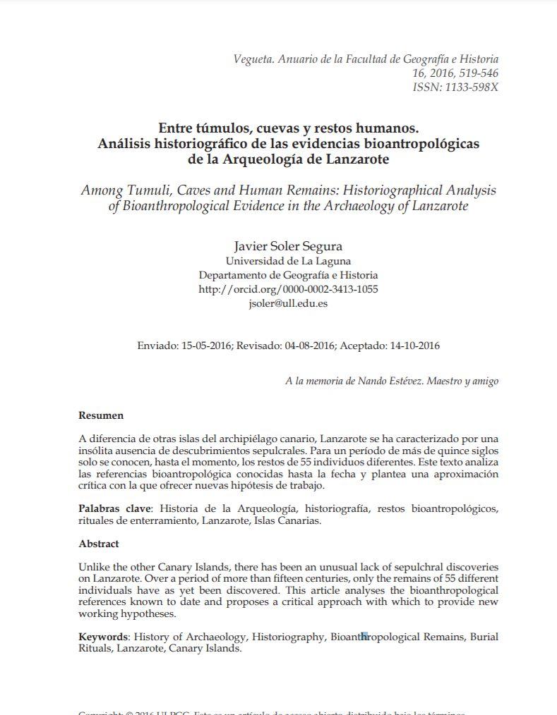 Entre túmulos, cuevas y restos humanos. Análisis historiográfico de las evidencias bioantropológicas de la Arqueología de Lanzarote