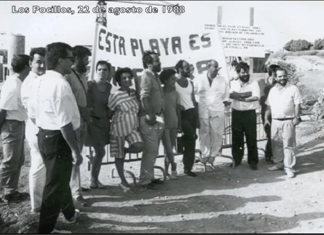 Manifestación en la playa de Los Pocillos 1988